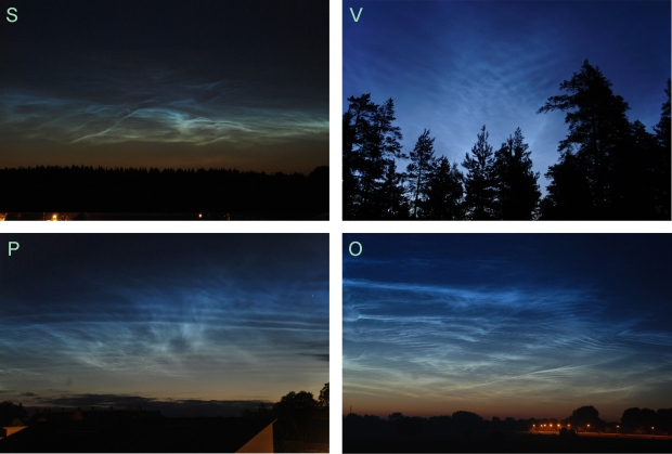 Subtypen lichtende nachtwolken