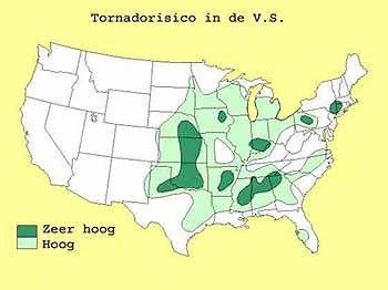Risico op tornado's in de VS