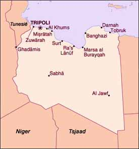Kaart Libië