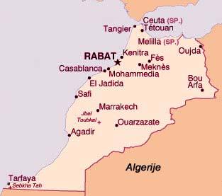 Kaart Marokko