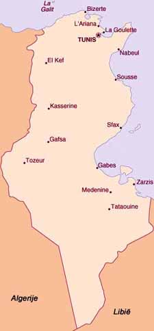 Kaart Tunesië
