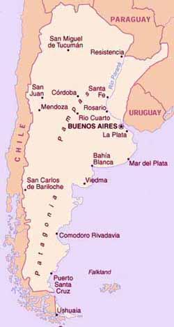 Kaart Argentinië