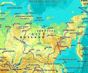Kaart Oymyakon en omgeving