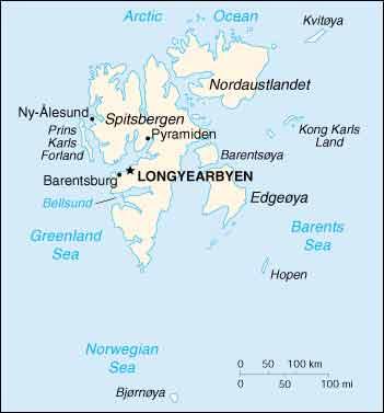 Kaart Spitsbergen