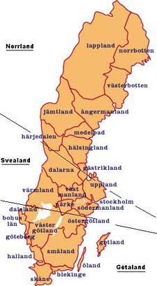 Kaart Zweden