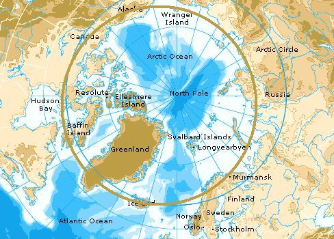 Kaart Noordpool gebied