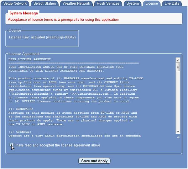 Accepteren van de licentie