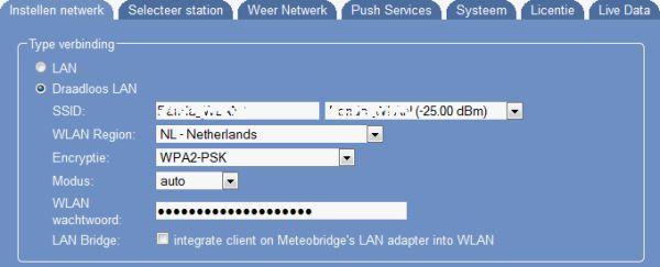Instellingen draadloos netwerk