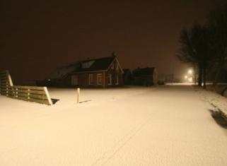Sneeuw op zondagavond 17 maart in Groningen