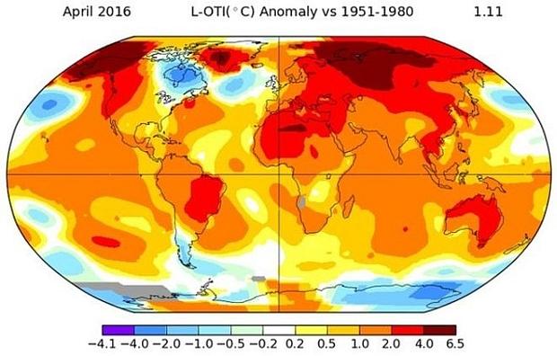 Global temperature april 2016
