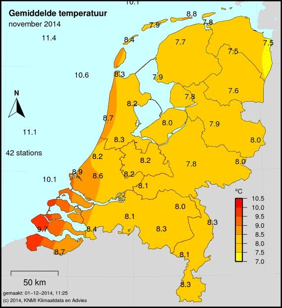 Gemiddelde temperatuur KNMI november 2014